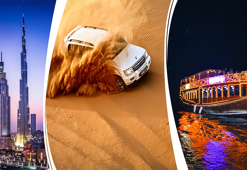 Dubai City Tour+Dhow Cruise Creek Evening Desert Safari